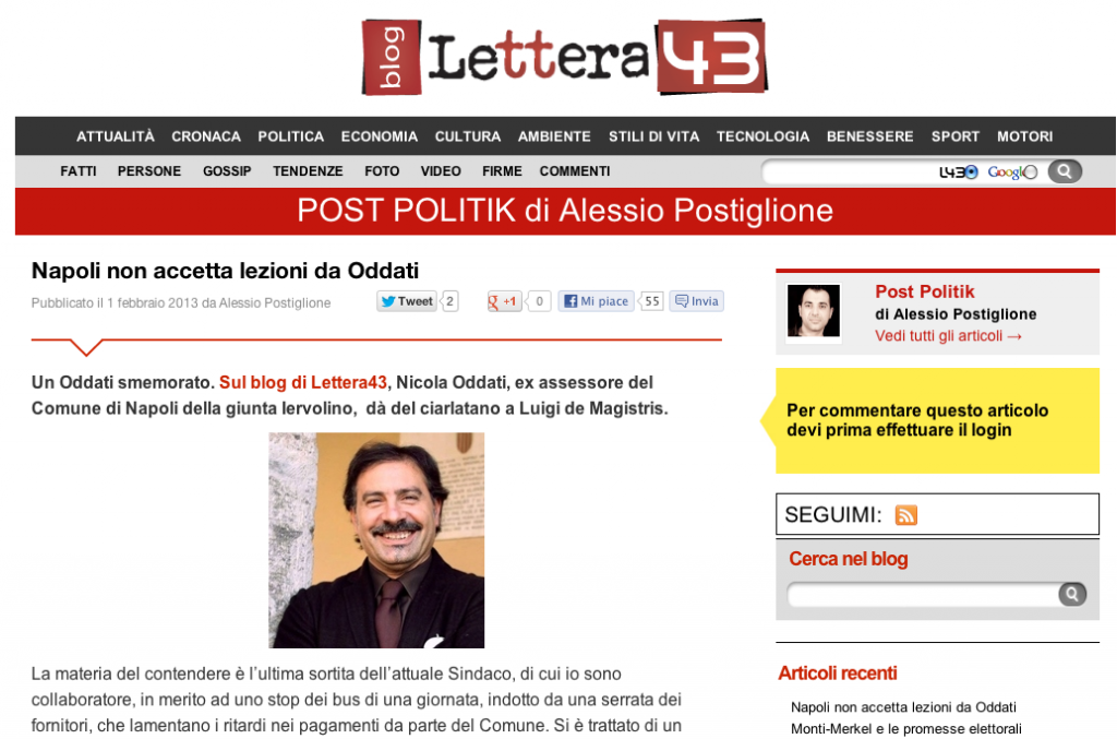 Il blog di Alessio Postiglione su Lettera43
